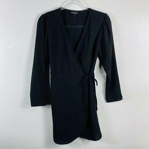 Topshop Black Mini Wrap Dress Long Sleeve